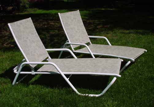 Lounge chairs done in a beautiful foliage pattern. - Patio Lounge Chairs